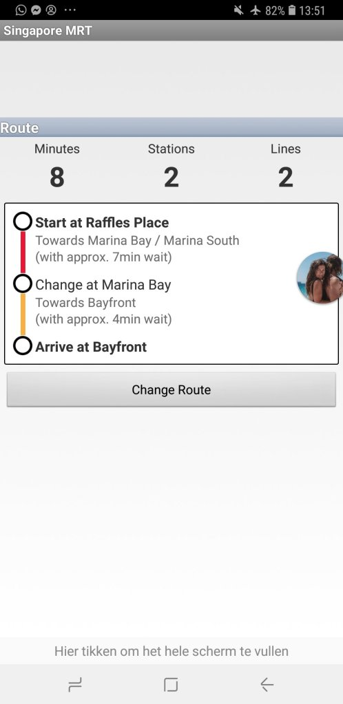 Mrt Singapore app shows route to take